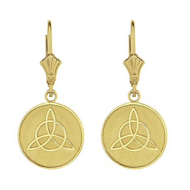 Solid Yellow Gold Triquetra Irish Celtic Disc Circle Earring Set