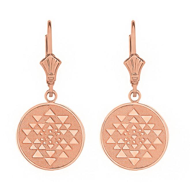 14k Solid Rose Gold Yantra Tantric Indian Yoga Disc Circle Earring Set