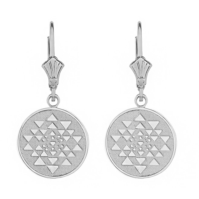 14k Solid White Gold Yantra Tantric Indian Yoga Disc Circle Earring Set
