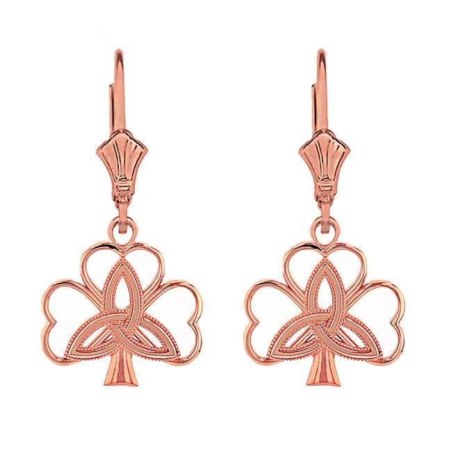 14K Solid Rose Gold Triquetra Irish Celtic Clover Earring Set