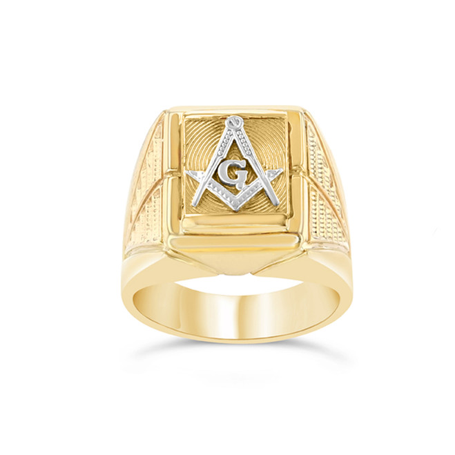 Two-Tone Yellow Gold Men's Masonic Ring
