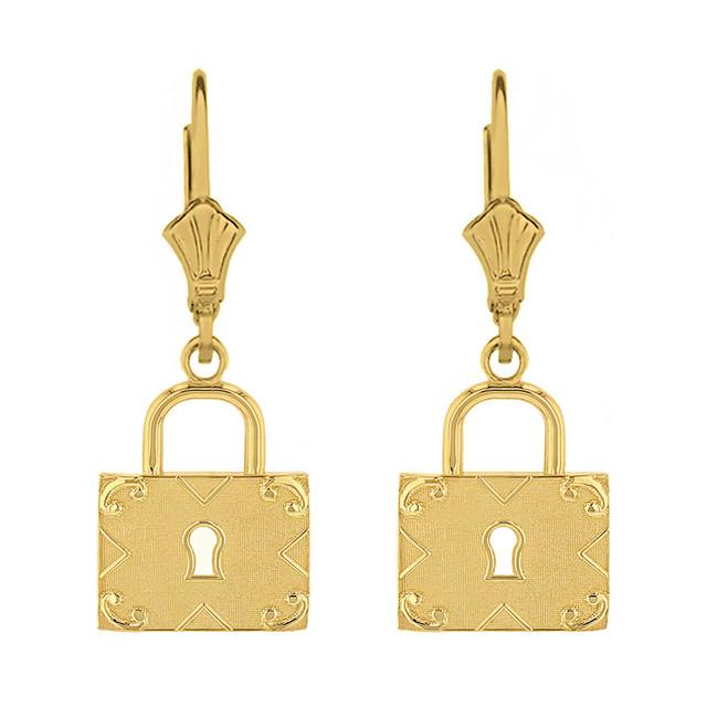 Solid Yellow Gold  Swirl Rectangle Keyhole Padlock Earring Set
