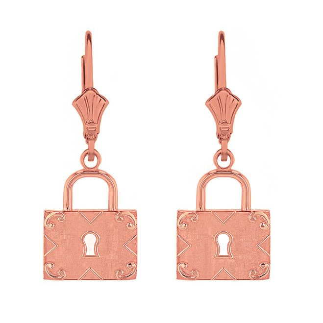 14k Solid Rose Gold  Swirl Rectangle Keyhole Padlock Earring Set