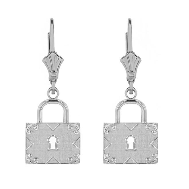 14k Solid White Gold  Swirl Rectangle Keyhole Padlock Earring Set