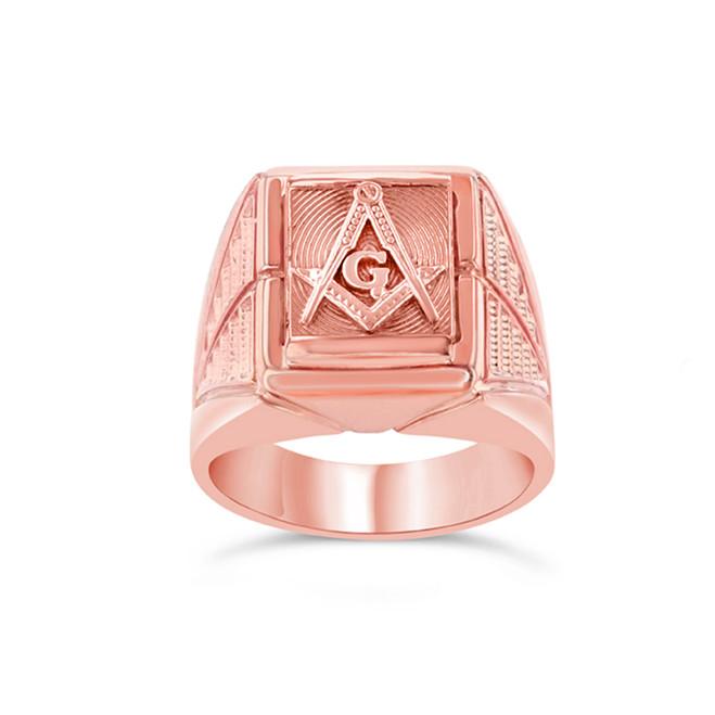 Rose Gold Men's Masonic Ring