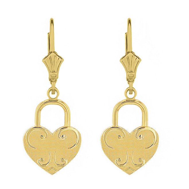 Solid Yellow Gold Swirl Heart Padlock Earring Set