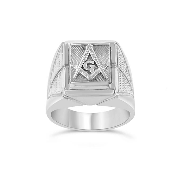 White Gold Men's Masonic Ring