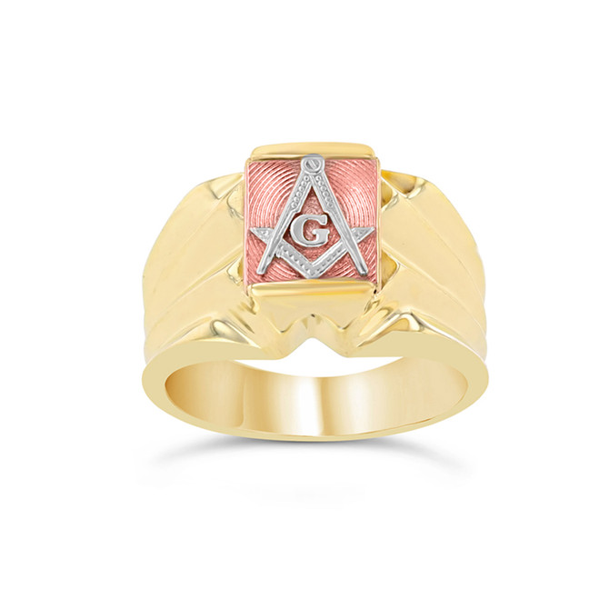Men's Tri-Color Gold Masonic Ring