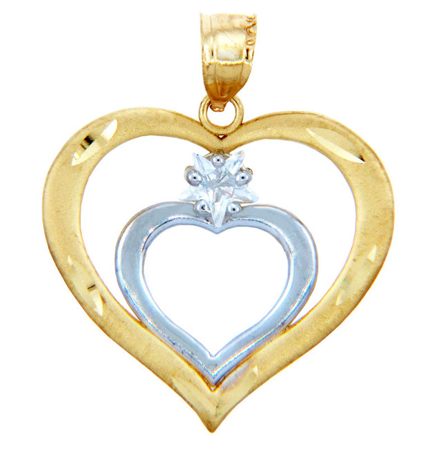Gold Pendants - Two Tone Gold Double Hearts Pendant