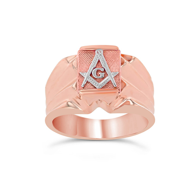 Men's Two-Tone Rose Gold Masonic Ring