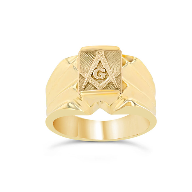 Men's Yellow Gold Masonic Ring
