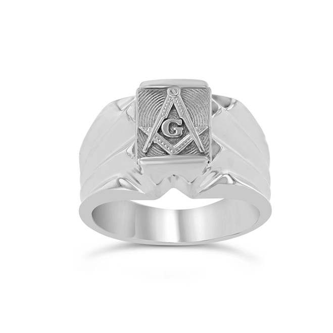 Men's  White Masonic Ring