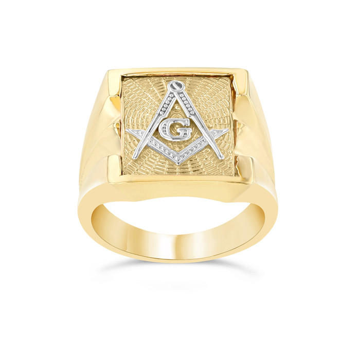 Men's Masonic Ring in Two-Tone Yellow Gold