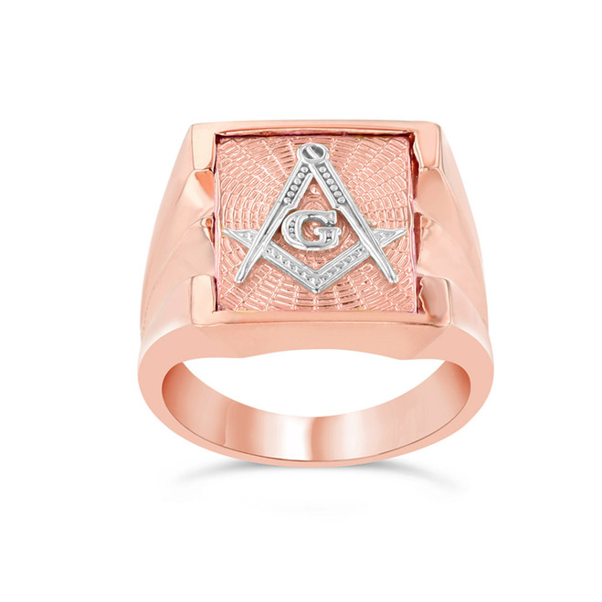 Men's Masonic Ring in Two-Tone Rose Gold