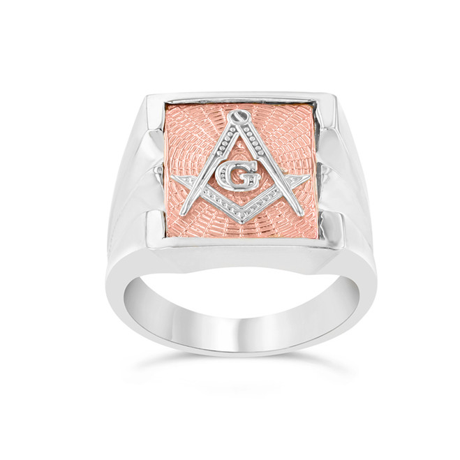 Men's Masonic Ring in Two-Tone White Gold