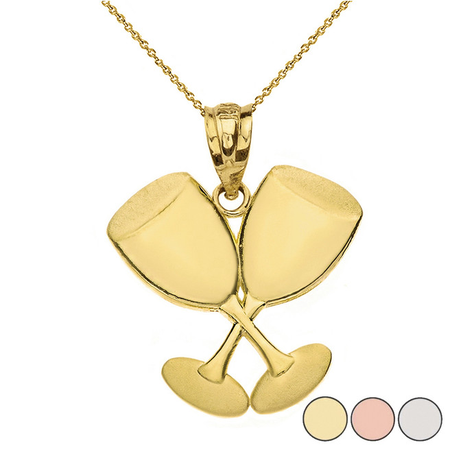 Two Glasses of Wine Pendant Necklace in Gold (Yellow/Rose/White)