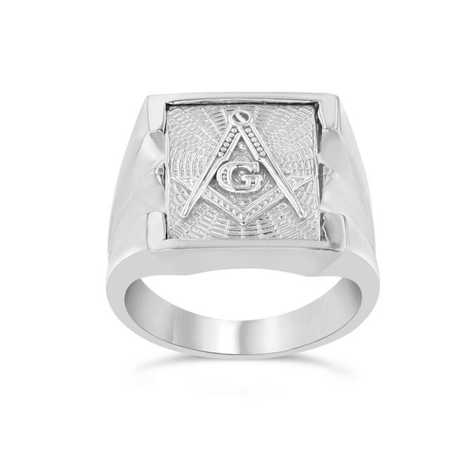 Men's Masonic Ring in White Gold