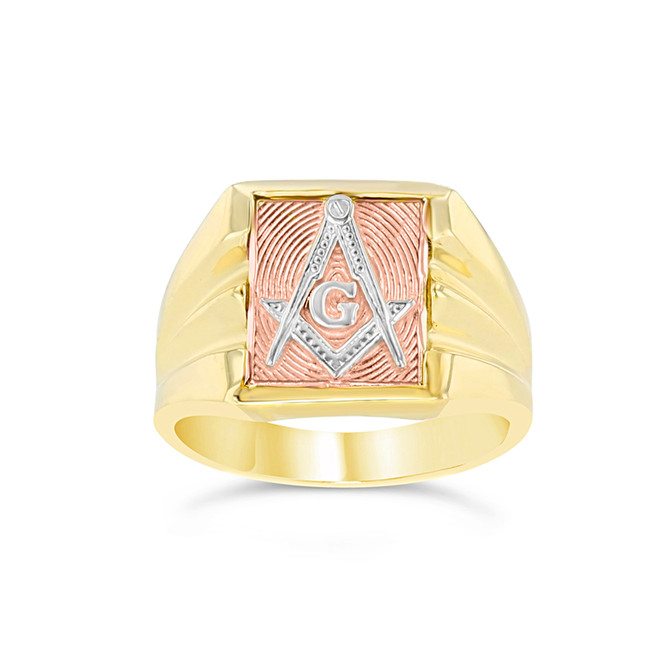 Tri-Color Gold Masonic Ring