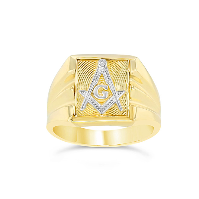 Two-Tone Yellow Gold Masonic Ring