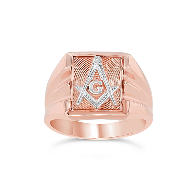Two-Tone Rose Gold Masonic Ring
