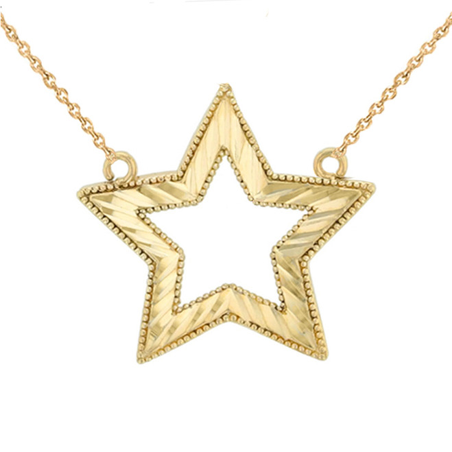 Chic Sparkle Cut Star Necklace in 14K Yellow Gold