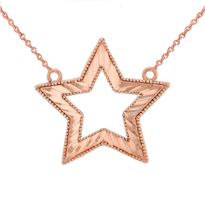Chic Sparkle Cut Star Necklace in 14K Rose Gold