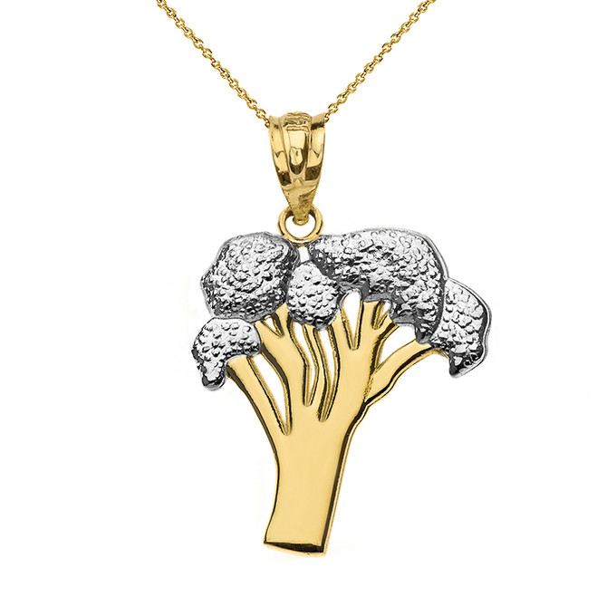 Solid Two Tone Yellow Gold Broccoli Vegetable Pendant Necklace