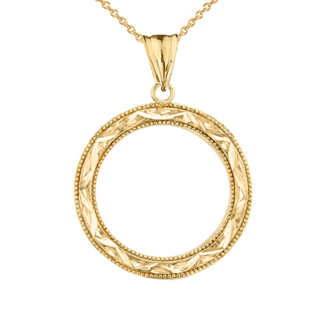 Chic Sparkle Cut Circle of Life Pendant Necklace in Yellow Gold