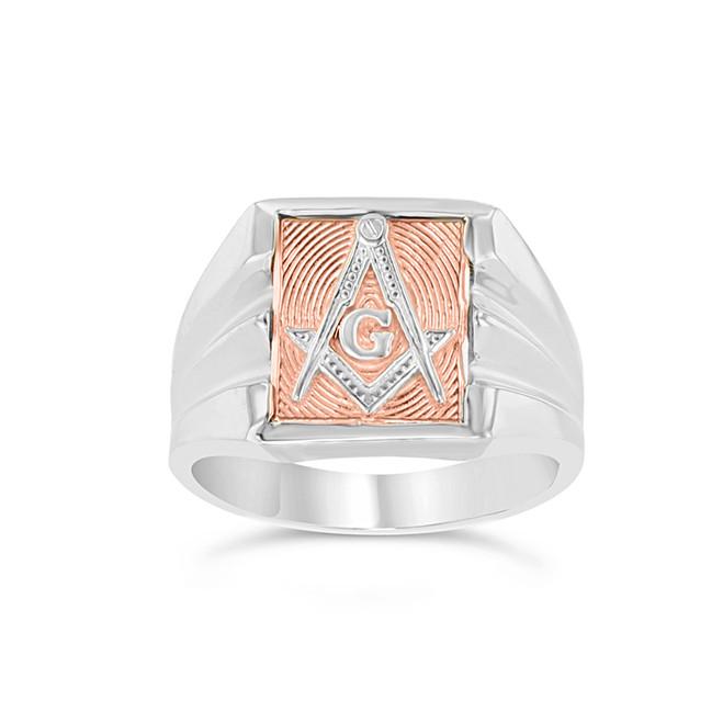 Two-Tone White Gold Masonic Ring