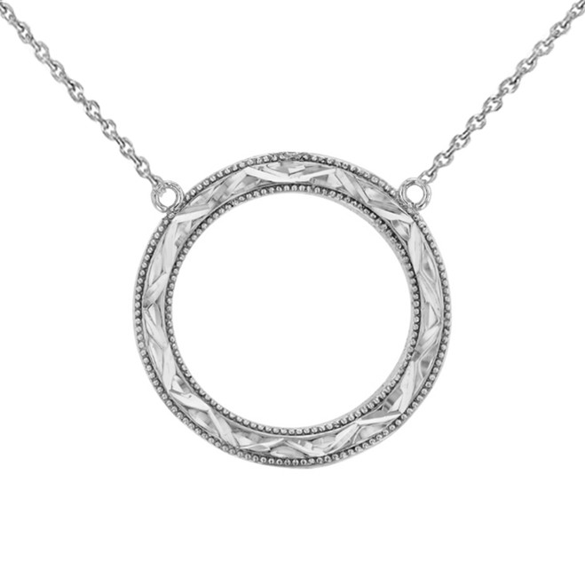 Chic Sparkle Cut Circle of Life Necklace in 14K White Gold