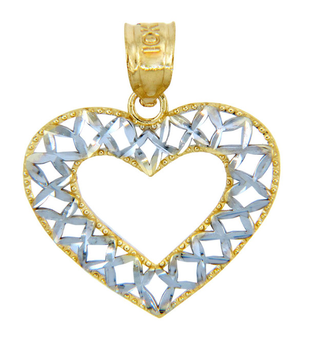 Gold Pendants - Two Tone Gold Open Weave Heart Pendant