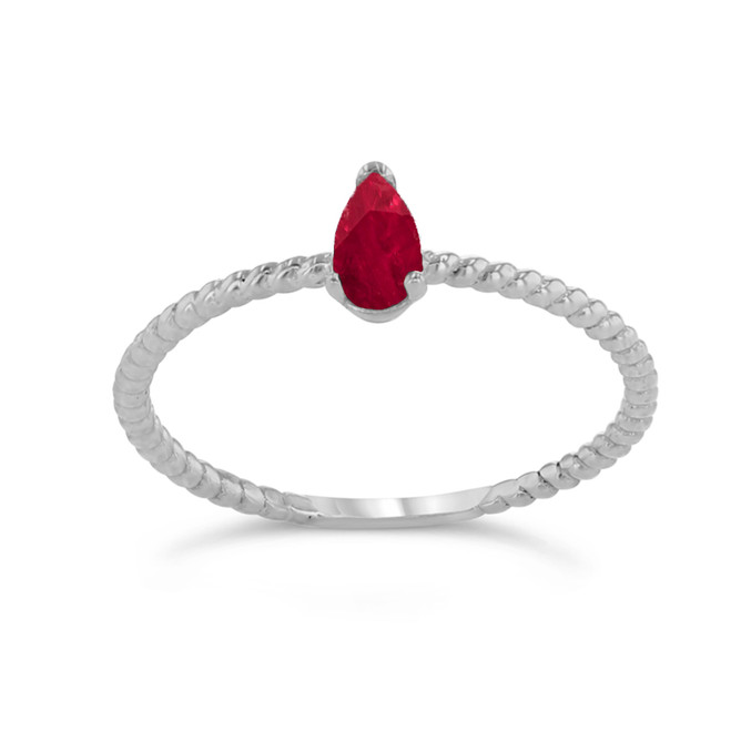 Dainty Genuine Ruby Pear Shape Rope Ring in White Gold