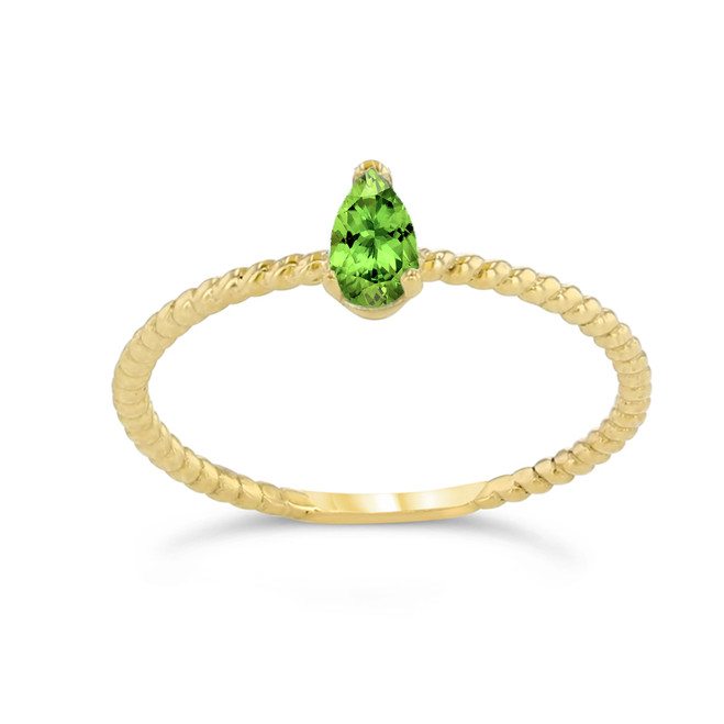 Dainty Genuine Peridot Pear Shape Rope Ring in Yellow Gold