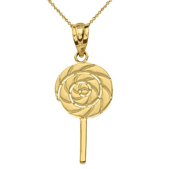 Solid Yellow Gold Retro Candy Swirl Lollipop Pendant Necklace
