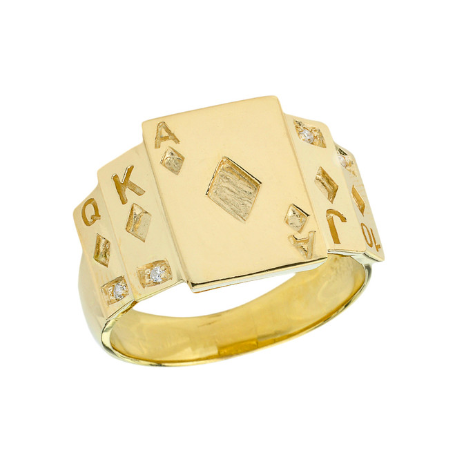 """Ace of Diamonds"" Royal Flush Diamond Ring in Yellow Gold"