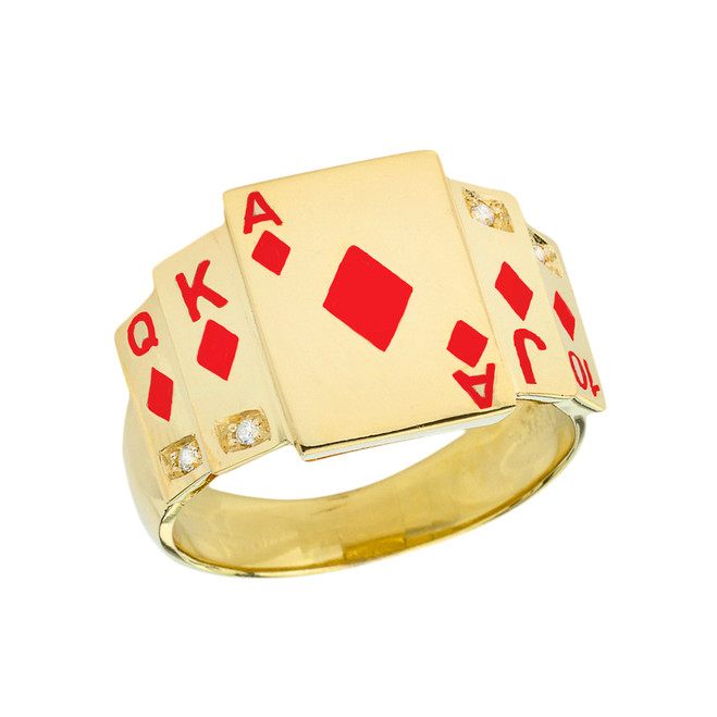 """Ace of Diamonds"" Royal Flush Diamond Ring in Yellow Gold with Red Diamonds"