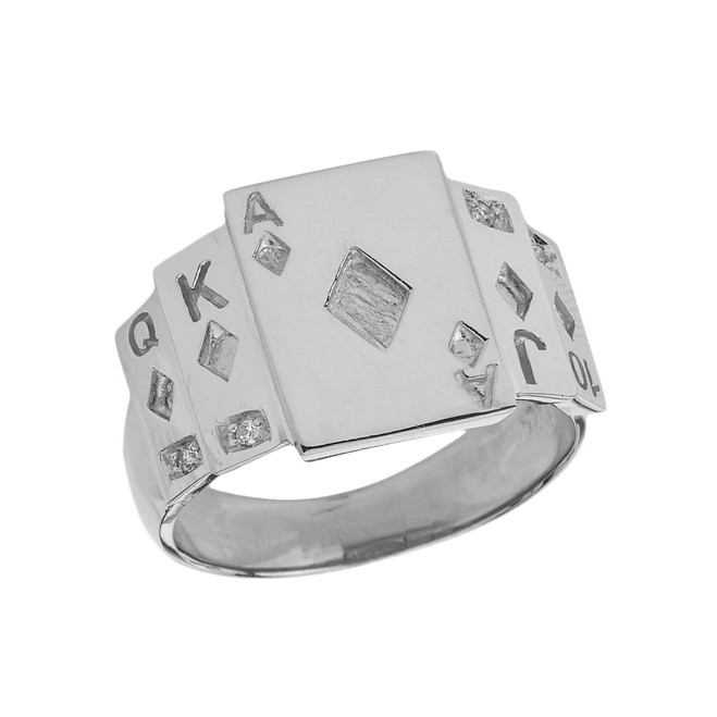 """Ace of Diamonds"" Royal Flush Diamond Ring in White Gold"