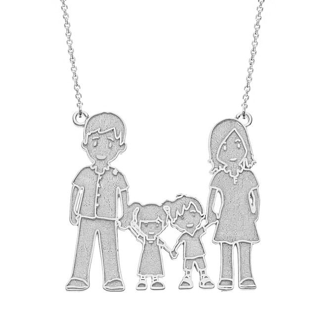 14k Solid White Gold Mother Father Son Daughter Family Necklace