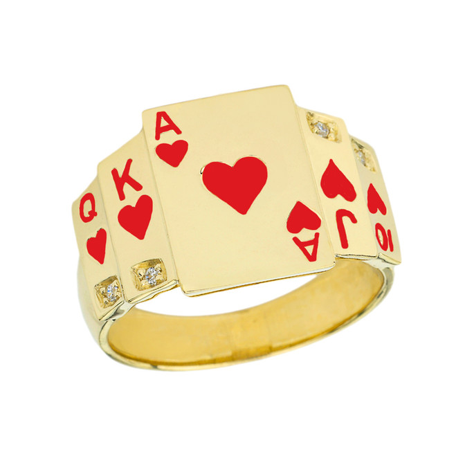 """Ace of Hearts"" Royal Flush Diamond Ring in Yellow Gold with Red Hearts"
