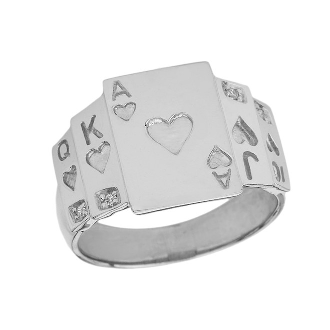 """Ace of Hearts"" Royal Flush Diamond Ring in White Gold"