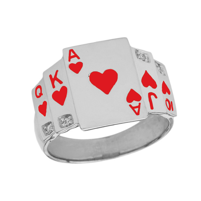 """Ace of Hearts"" Royal Flush Diamond Ring in Sterling Silver with Red Hearts"
