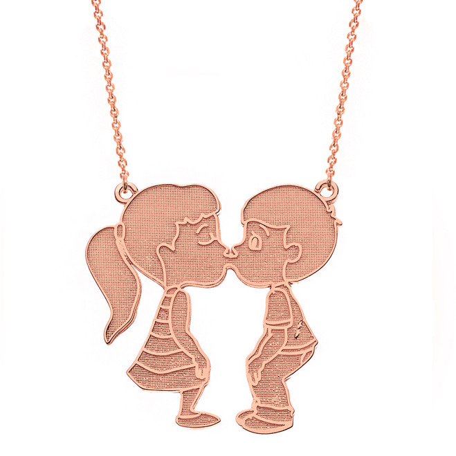 14k Solid Rose Gold Boy Girl Kissing Lovers Necklace