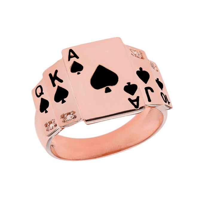 """Ace of Spades"" Royal Flush Diamond Ring in Rose Gold with Black Spades"