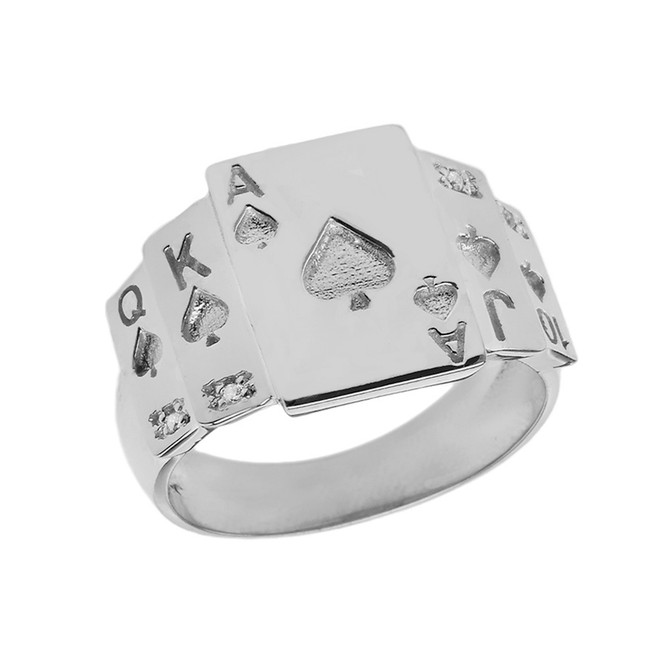 """Ace of Spades"" Royal Flush Diamond Ring in White Gold"