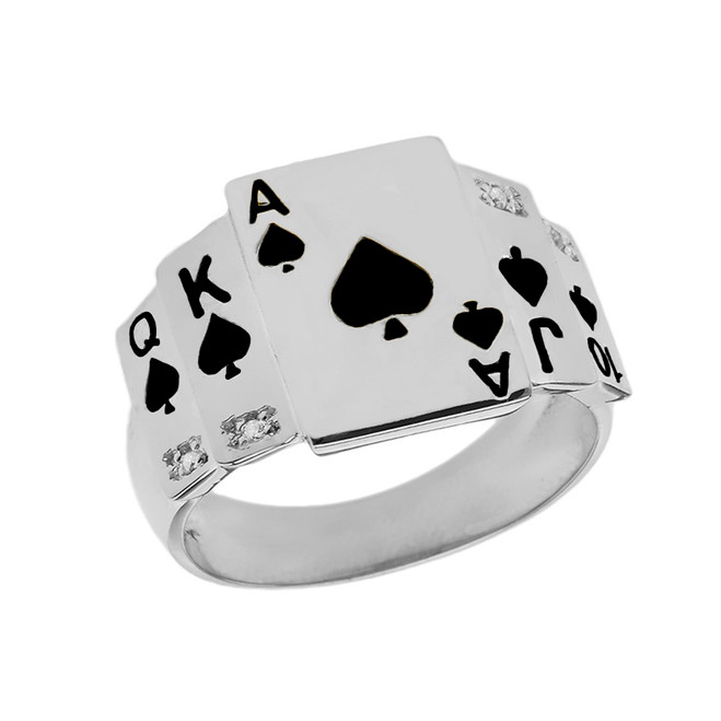 """Ace of Spades"" Royal Flush Diamond Ring in Sterling Silver with Black Spades"