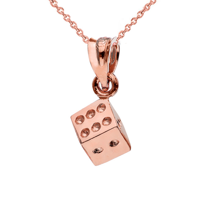 3D Playing Die Pendant Necklace in Rose Gold