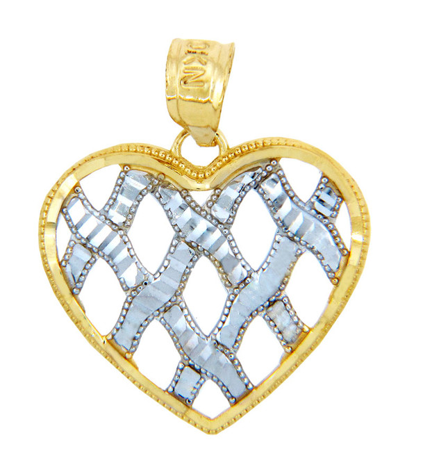 Gold Pendants - Two Tone Gold Heart Ribbons of Love Pendant