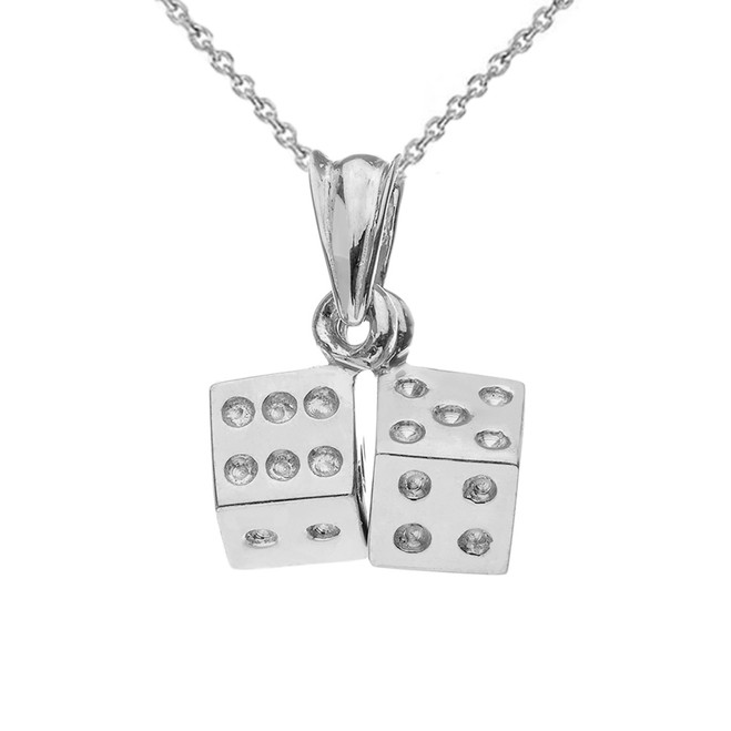 3D Playing Dice Pendant Necklace in White Gold