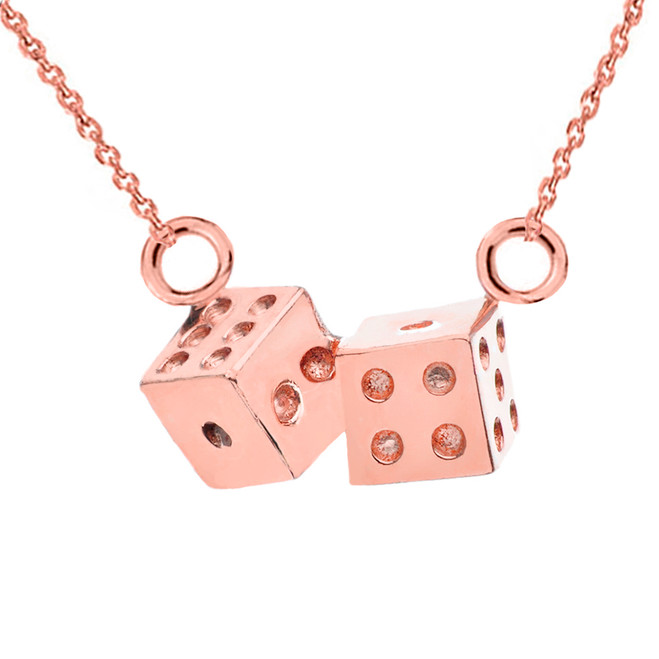3D Playing Dice Necklace in 14K Rose Gold