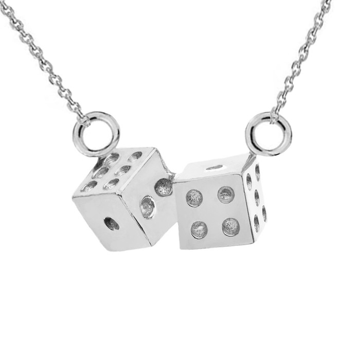 3D Playing Dice Necklace in 14K White Gold